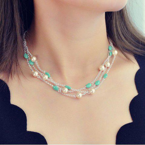 Fashion Silver Three-Layer Rice Bead Chain Necklace