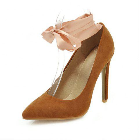 Fashion Pointed Toe Napped Leather Lace Up Stilettos Heels Lady Pumps