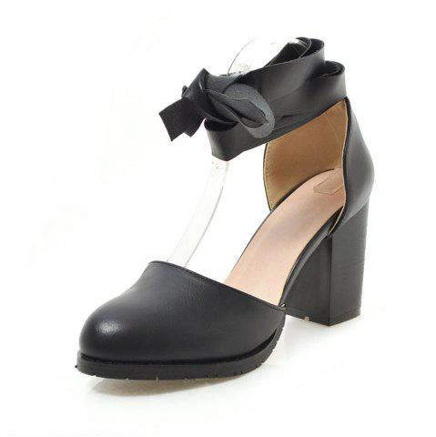 Round Toe Pure Color Ankle Strap Chunky Heels Lady Sandals