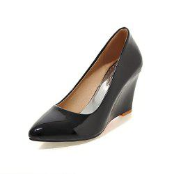 Fashion Pointed Toe Pure Color Patent Leather Wedges elegant lady Pumps -