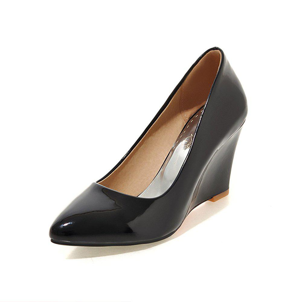 Fashion Fashion Pointed Toe Pure Color Patent Leather Wedges elegant lady Pumps