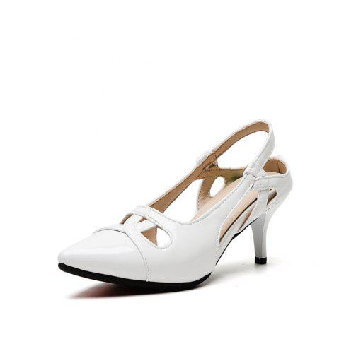 Pointed Toe Patent Leather Pure Color Stilettos Heels Elegant Lady Sandals