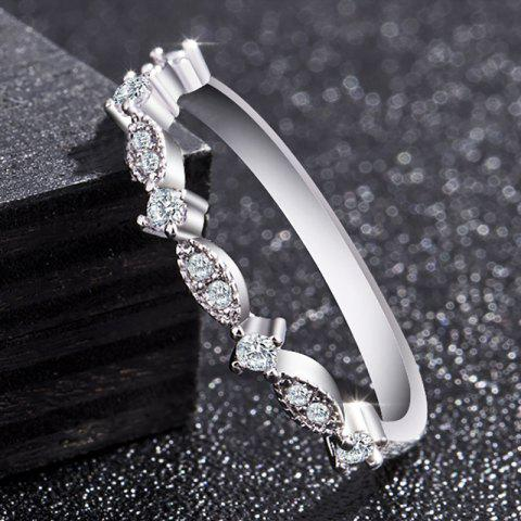 Women Fashion Exquisite Small 14K Gold Small Diamond Silver Ring