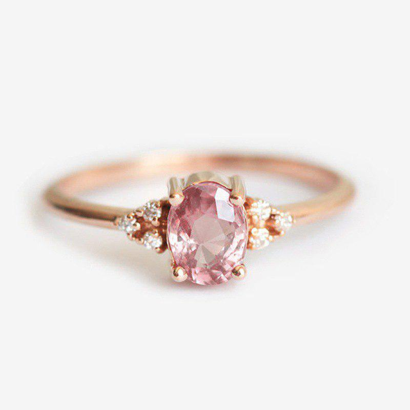 Fancy Delicate Lady Rose Gold Filled Diamond Cluster Peach Sapphire Ring