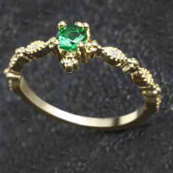 Lovely Dainty Women's 14K Gold Plated Green Diamond Gemstone Ring -