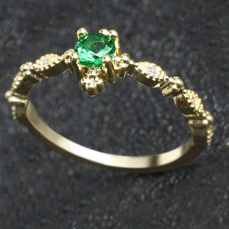 Shops Lovely Dainty Women's 14K Gold Plated Green Diamond Gemstone Ring