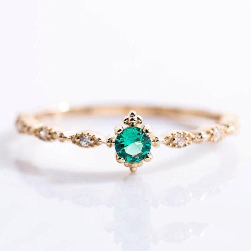 Outfits Lovely Dainty Women's 14K Gold Plated Green Diamond Gemstone Ring