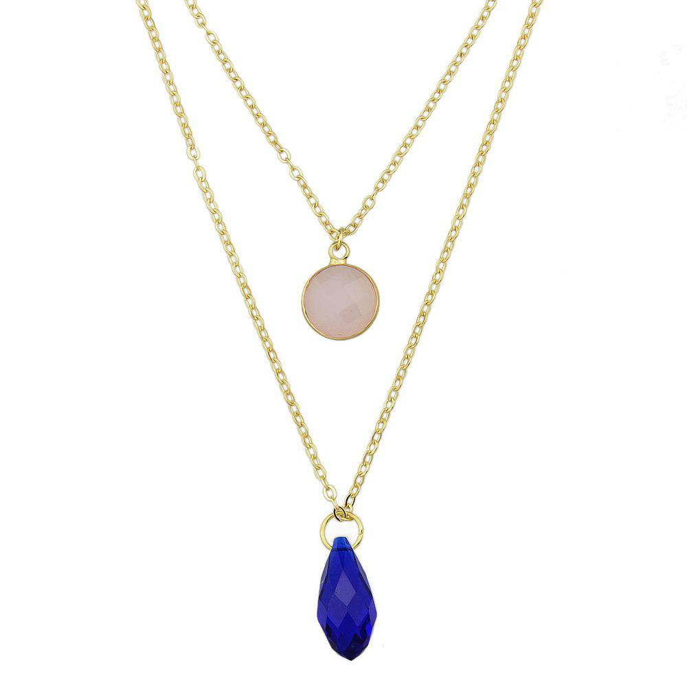 New Gold-color Chain with Pink Blue Stone Drop Necklace 2pcs