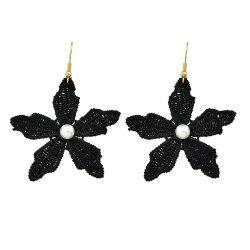 Simulated-pearl with Colorful Lace Flower Drop Earring -