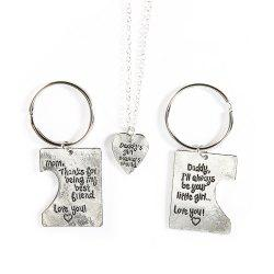 Lettering Stainless Steel Heart-Shaped Necklace Keychain Three-Piece -