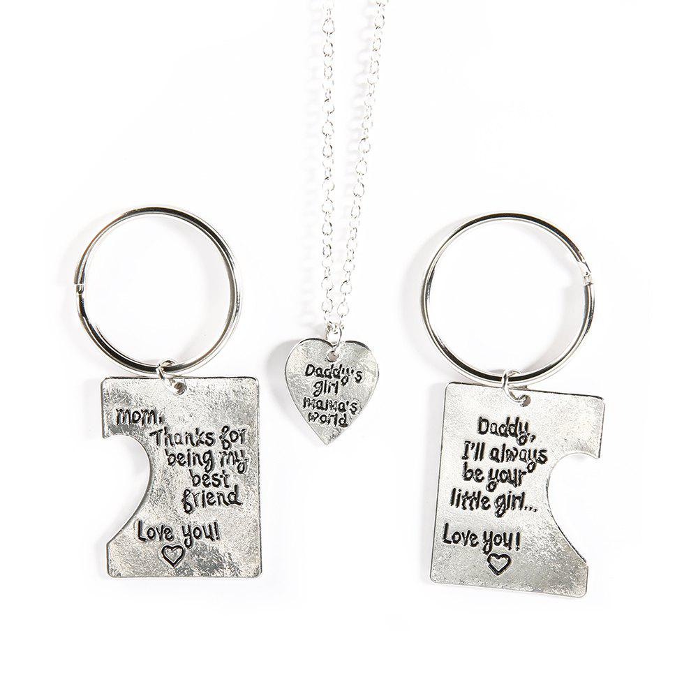 Fashion Lettering Stainless Steel Heart-Shaped Necklace Keychain Three-Piece