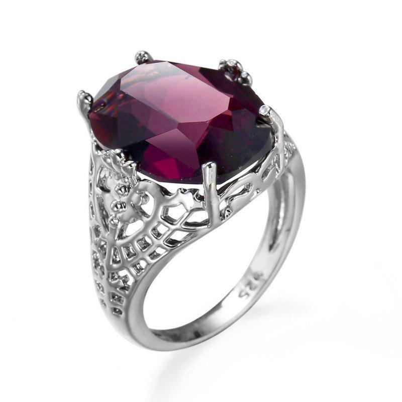 Cheap Stylish Simple Hollowed-out Purple Opal Ring