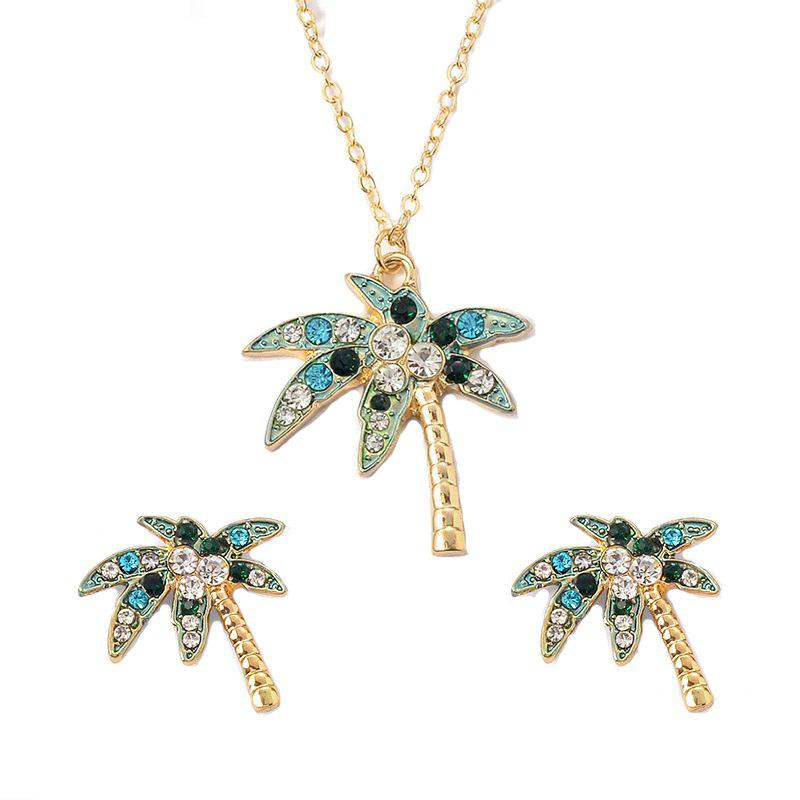 Affordable Fashion Creative Coconut Tree Necklace Earrings Jewelry Set