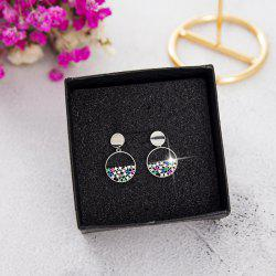 Colorful Diamond Round Hollow Short Earrings S925 Silver Needle Pearl Earrings -