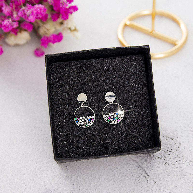 New Colorful Diamond Round Hollow Short Earrings S925 Silver Needle Pearl Earrings