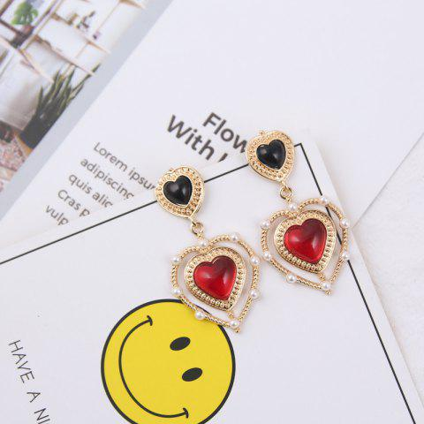Temperament Long Red Love Stone Pearl Personality Earrings