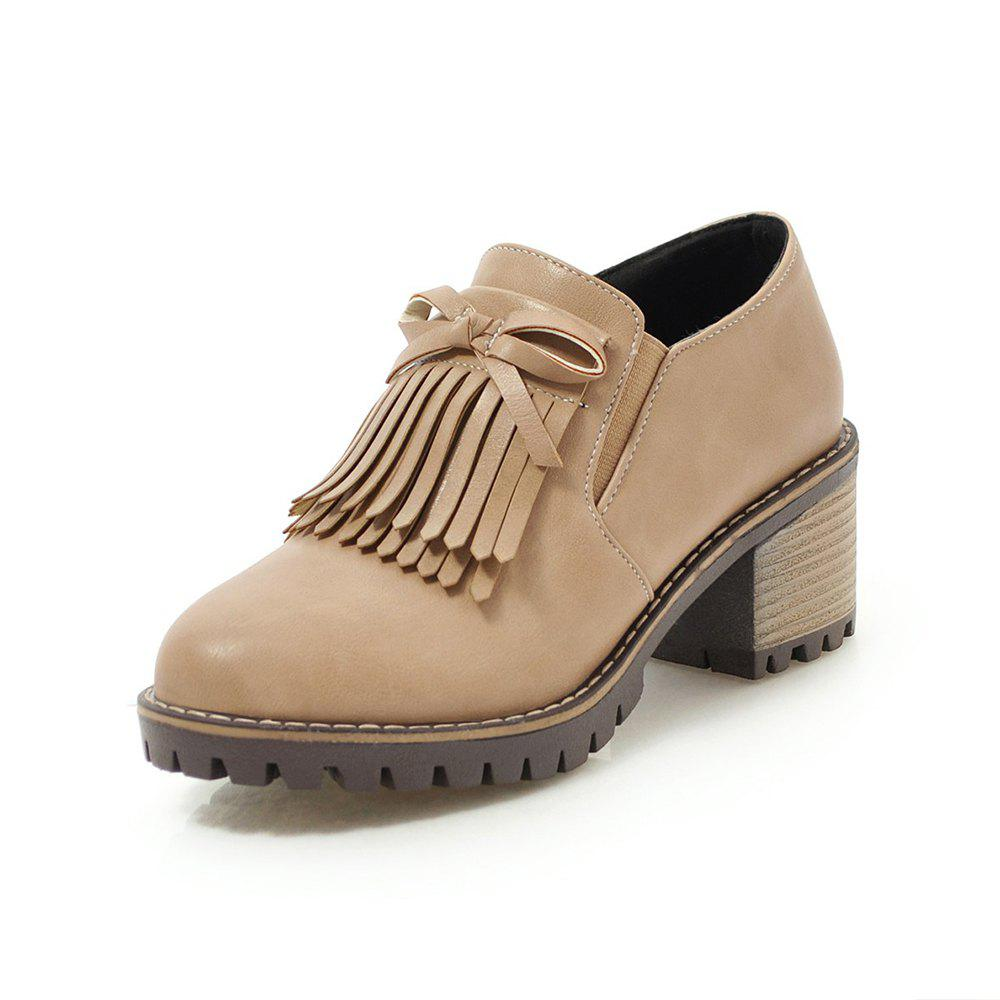Hot Round Toe Pure Color tassels bowknot Casual Chunky Lady Pumps