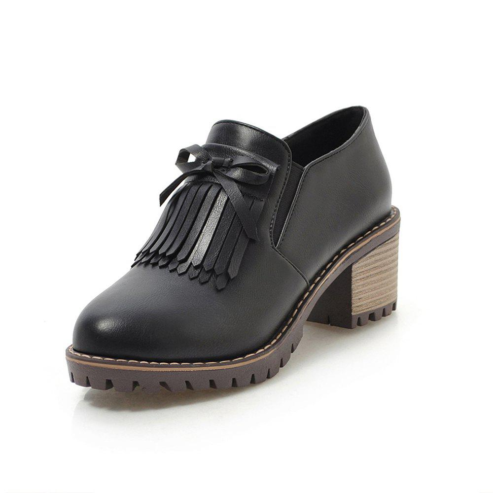 Cheap Round Toe Pure Color tassels bowknot Casual Chunky Lady Pumps
