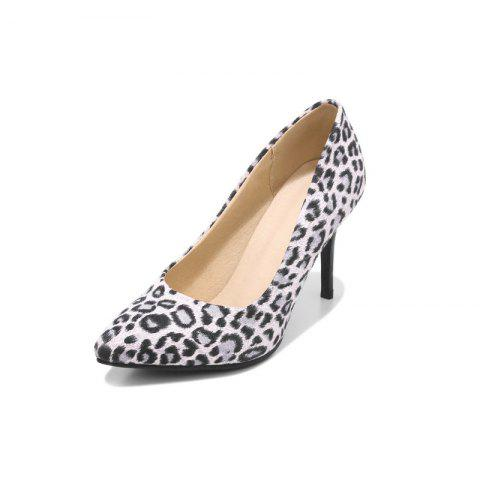 Pointed Toe Napped Leather Leopard Pattern Stilettos Heels Sexy Lady Pumps