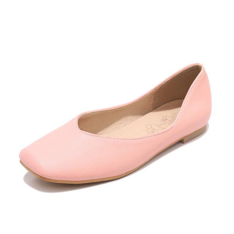Online Square Toes Pure Color casual Low Heel lady Pumps
