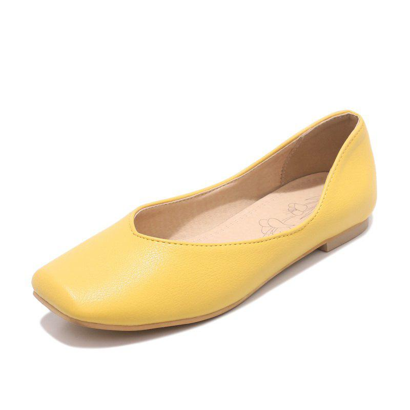 Store Square Toes Pure Color casual Low Heel lady Pumps