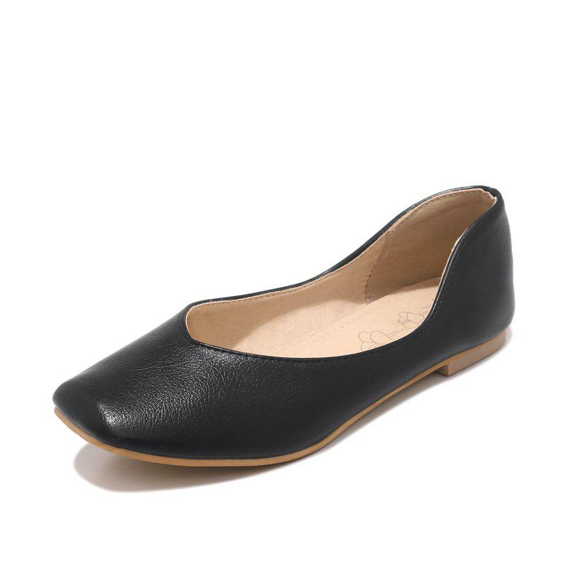 Fashion Square Toes Pure Color casual Low Heel lady Pumps