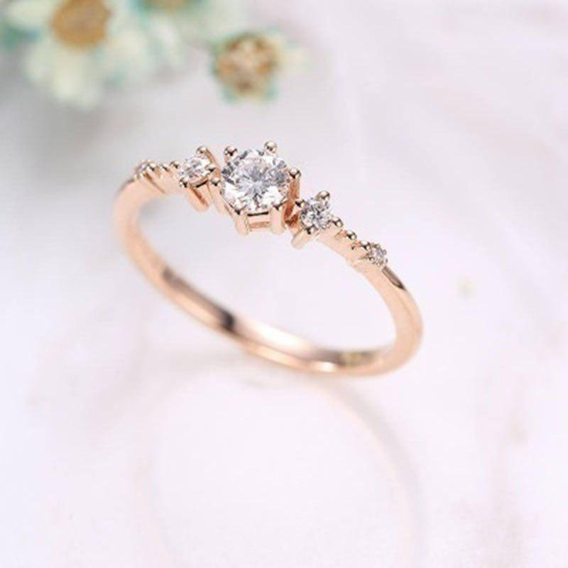 Outfits 14K Gold Plated Eternity Thin CZ Band Rings Silver Tiny Jewellery Ring
