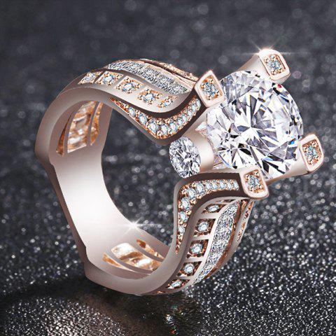 Noble Fashion Women 18K Rose Gold Filled White Diamond Wedding Jewelry Ring