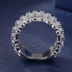 Classics Silver AAA CZ Promise Wedding Lady Band Ring Luxury Jewelry -