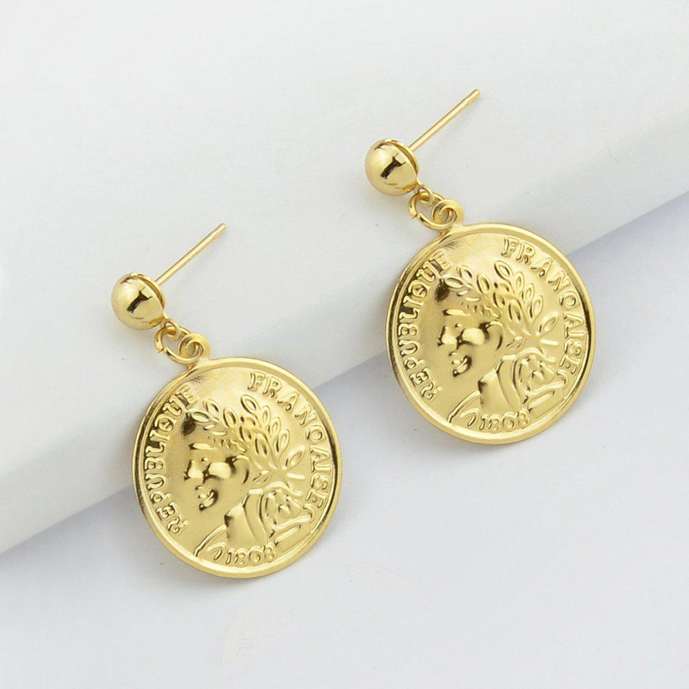 Gold-Color with Face Coin Dangle Earring