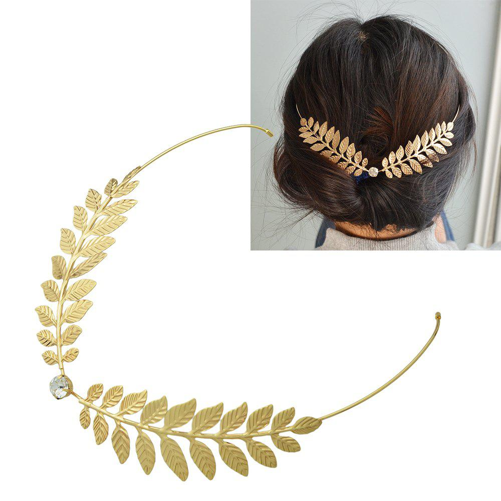 Chic Gold-Color with Leaf Branch Chain Barrette Clip Hair Hoop