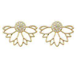 Gold Silver Color with Rhinestone Flower Stud Earring -