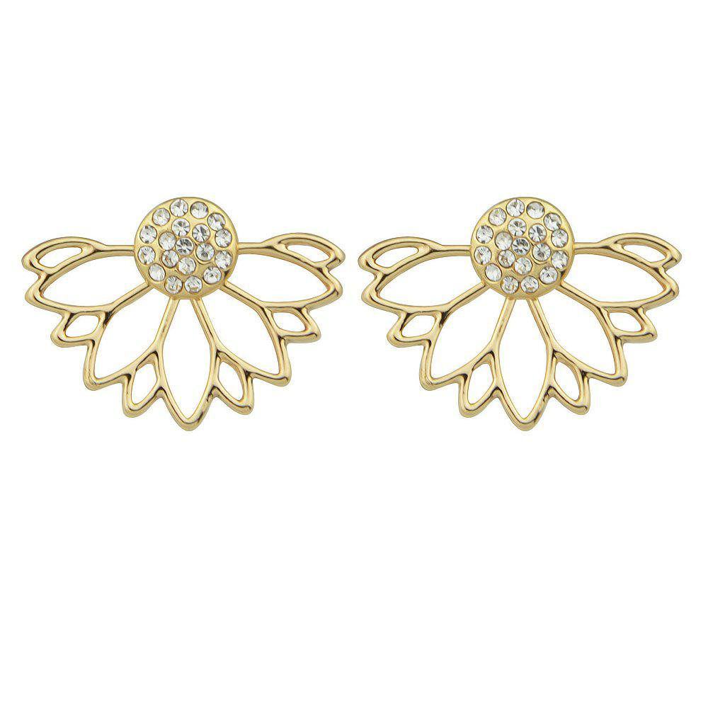 Outfits Gold Silver Color with Rhinestone Flower Stud Earring