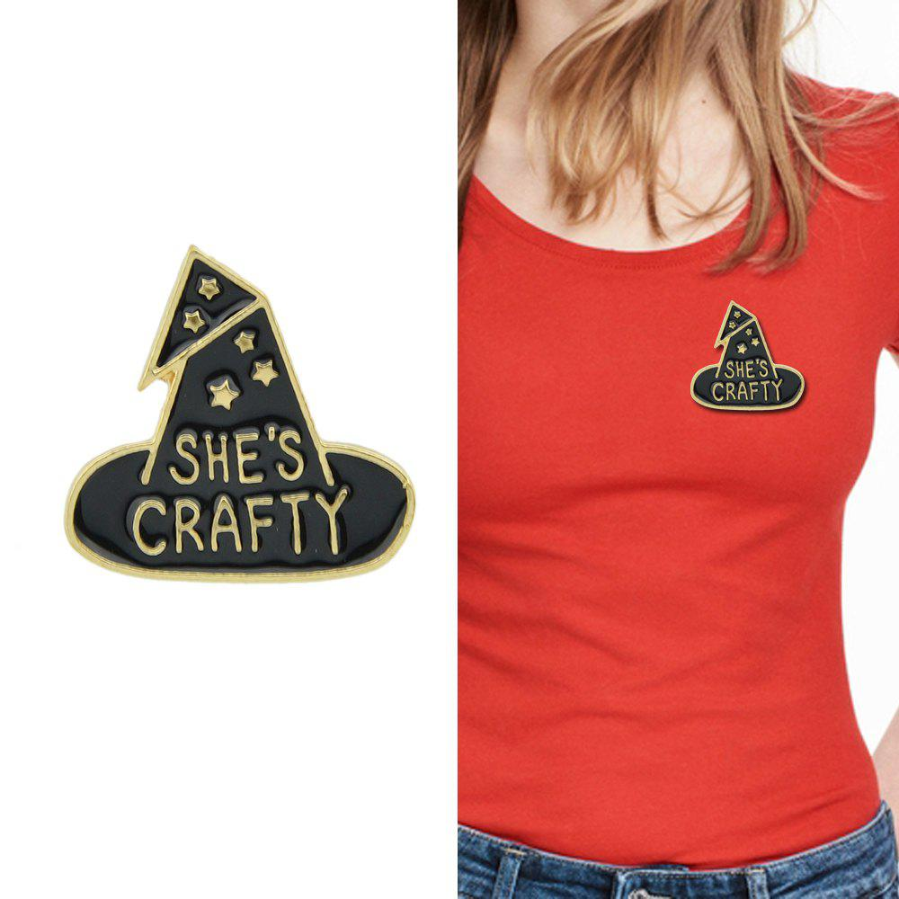 Cheap Black Enamel with Witch Hat Brooch