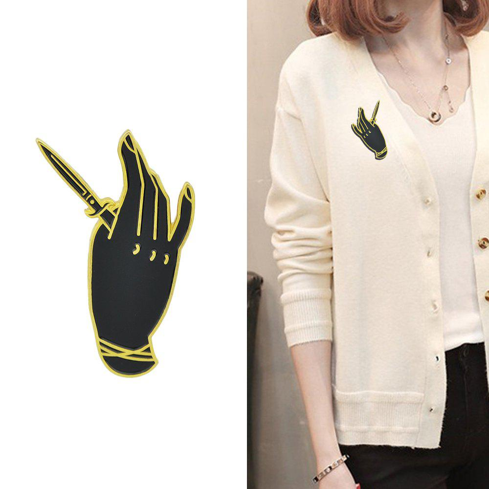 Outfit Gold-Color with Black Enamel Hand Sword Brooch