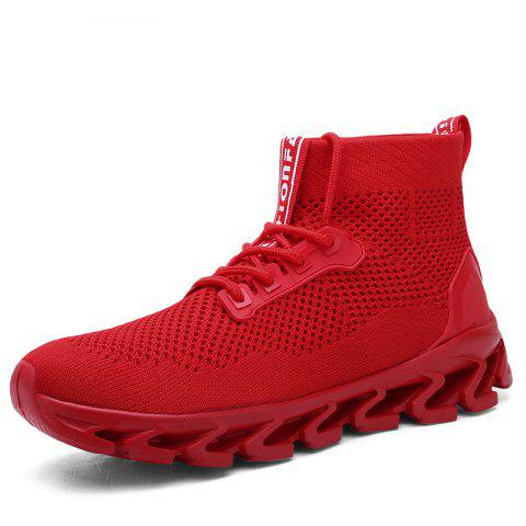 b13005d762 Large Size New Sock Casual Sport Breathable Fly Mesh Woven Running Shoes  for Men