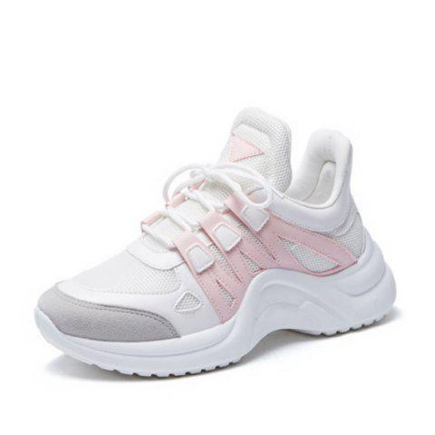 Pink Large Size Increase Height Mesh Rubber Sole Sneakers for Women