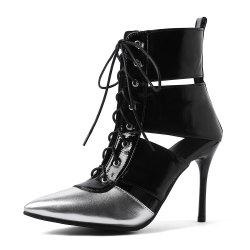 Pointed Toe Blue Patchwork Lace Up Stilettos Heels Elegant Ladies Cool Boots -