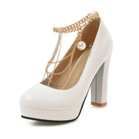 Round Toe Platform Pure Color Metal Chain Chunky Heels lady Pumps
