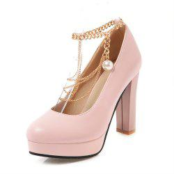 Round Toe Platform Pure Color Metal Chain Chunky Heels lady Pumps -