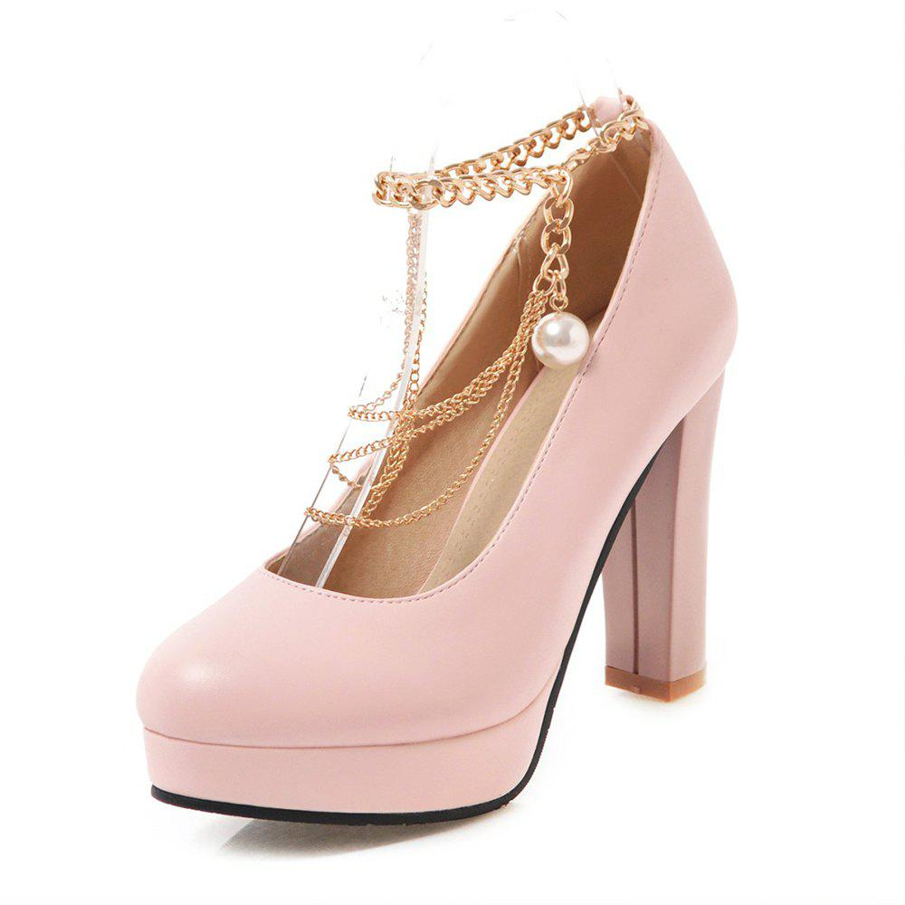 Fashion Round Toe Platform Pure Color Metal Chain Chunky Heels lady Pumps