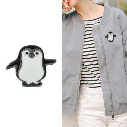 Black White Enamel with Penguin Brooch -