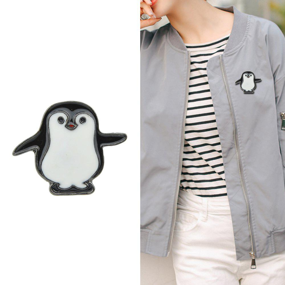 Affordable Black White Enamel with Penguin Brooch