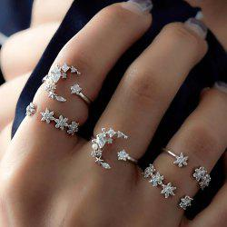 Silver Color With Rhinestone Geometric Rings 5PCS/Set -