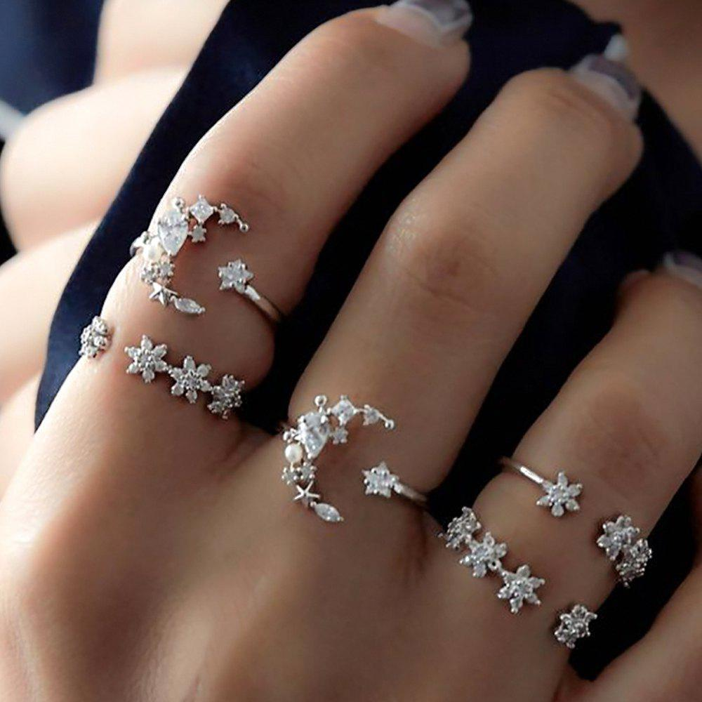 Silver Color With Rhinestone Geometric Rings 5PCS/Set