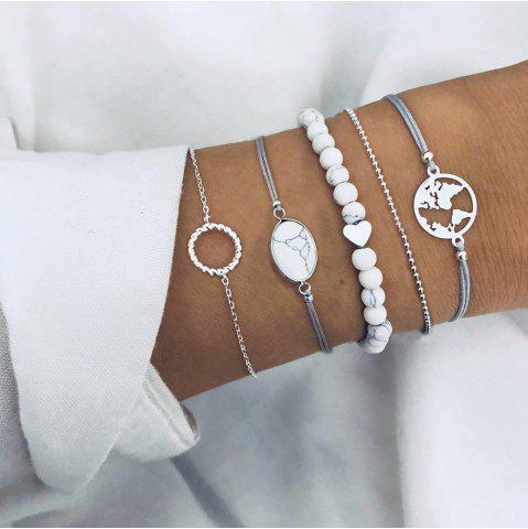 Round Cracked Pine Stone Bead Chain Map Hollow Ring Bracelet Five-Piece
