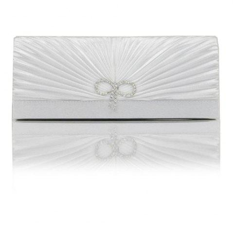 Bright Diamond Silk Classic Banquet Bride Bag Pleated Evening Bag