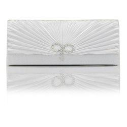 Bright Diamond Silk Classic Banquet Bride Bag Pleated Evening Bag -