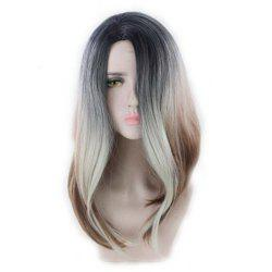 Medium Wig Wig Face Two-Color Bleaching Gradient Long Curly Hair -