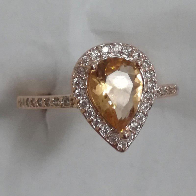 Unique 14K Rose Gold Natural Moist Stone and Diamond Halo Women Ring
